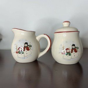 Royal Seasons Snowman Christmas Creamer Sugar Bowl